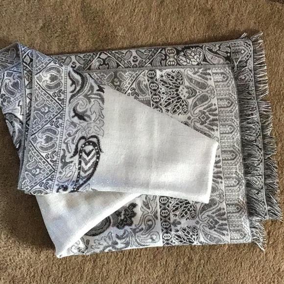 Women's metallic grey decorative scarf.